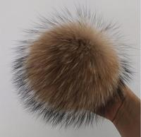 Fashion Fur 10 Pcs 15cm 100% Real Raccoon Fur Ball Genuine Fur Pompom For Women Winter Keychain Beanies Hat