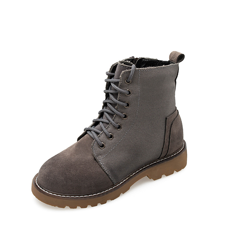 2018 autumn Korean version with round head fashion side zipper student casual female Martin boots gray ljj 01072018 autumn Korean version with round head fashion side zipper student casual female Martin boots gray ljj 0107