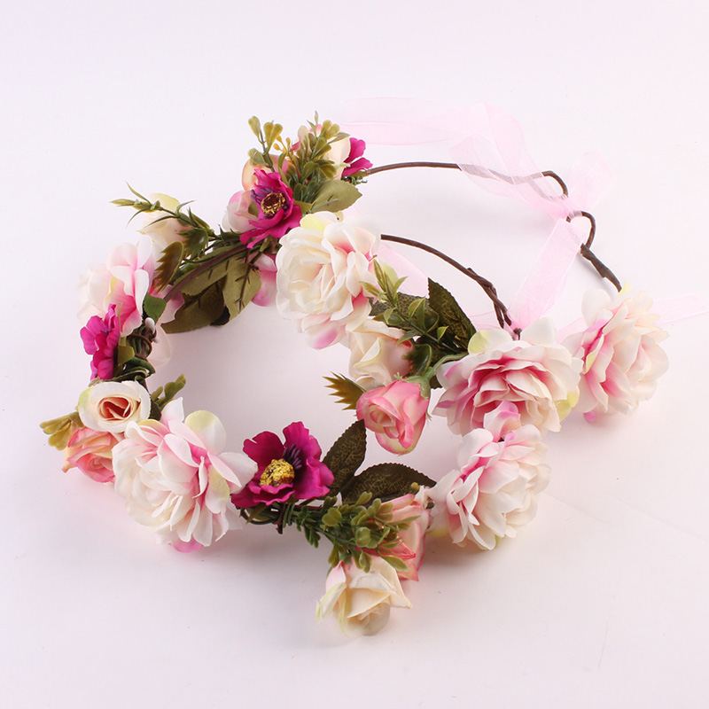 Flower Headband Hairwear Bridal Hair Ornament Fabric Flower Crown Wedding Hair Accessories Headbands Floral Head Wreath fashionable metal and pu leather design clutch bag for women