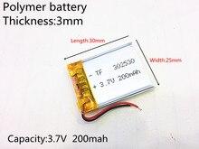 Polímero de Íon Lítio para Mp3 3.7 V 200 Mah 302530 Plib; de Lítio e bateria Iões Mp4 Palestrante Caneta Gravador Voz Relógio Inteligente