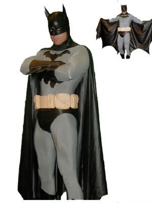 Classic Batman Costume Spandex Zentai FullBody Superhero Batman costume with cape and mask free shipping