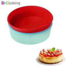 Shebaking 8inch Round Shape Cake Pan Silicone Toast Bread Mould 3D Sugarcraft Fondant Mold Baking Tray Pastry Tools