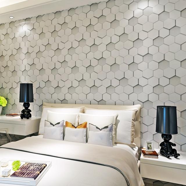 Honingraat patroon reli f waterdichte pvc 3d behang voor for Behang voor slechte muren