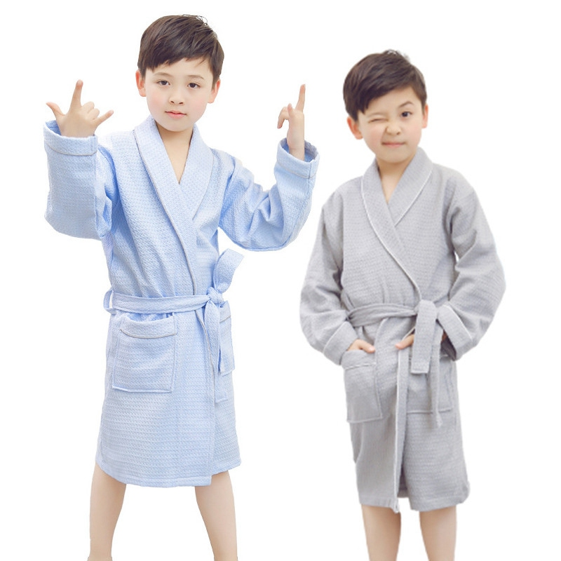 Girls Bathrobe Kids Hooded Robe Boys Sleepwear Children Pajama Robes for Girl Bathrobes Cotton Baby Bath Robe Infant Home Wear(China)