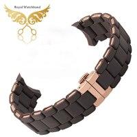 Hoge kwaliteit rose gold siliconen rubber diver horloge band band armband voor merk AR5890 AR5905 AR5919 verzending
