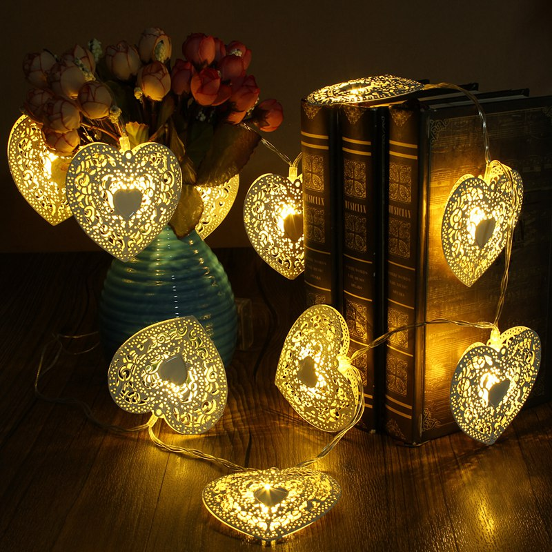 Mising Warm Cool White Metal Heart Shaped 10 LED String Light Wedding Party Christmas LE ...