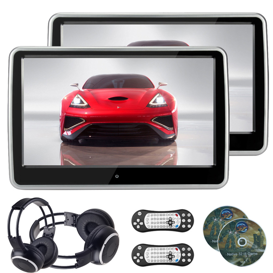 imágenes para 2 UNIDS 10.1 Pulgadas 1024*600 TFT LCD Reposacabezas Monitor Reproductor de DVD Coche de la Pantalla Táctil de la Resistencia de 32 Bits Del Juego USB/SD/IR/FM del Auricular
