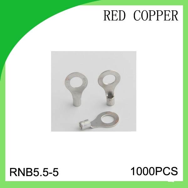 red copper 1000 PCS RNB5.5-5 cold-pressure terminal  connector cable lug high quailty 5 2 circular annular lug ground lug 100 to loop wiring lug cold copper tips