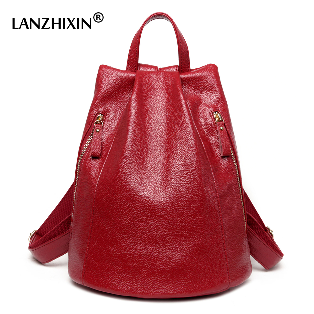 Lanzhixin women leather backpacks fashion casual high quality school bags for teenagers preppy style backpacks bags