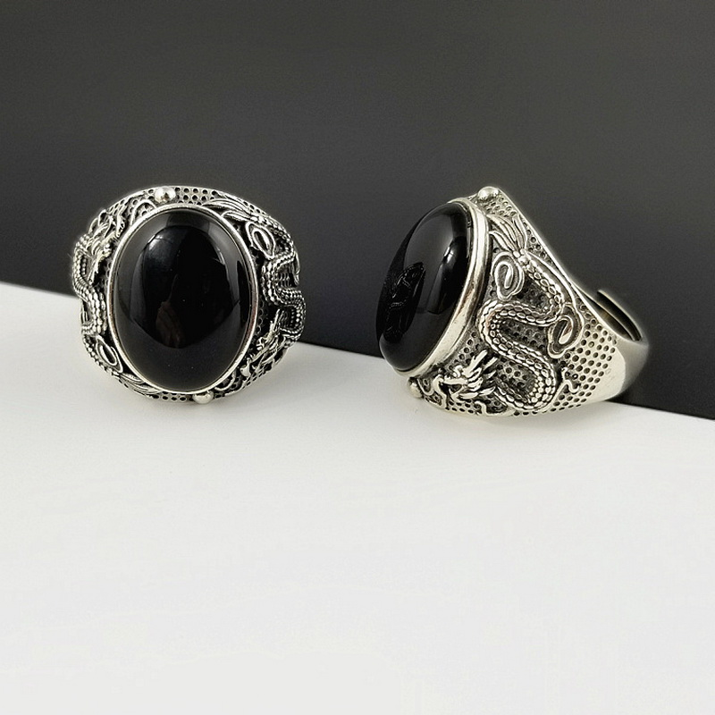 Natural Oval Black Onyx Stone Solid Silver 925 China Dragon Thick Band Rings Men 100 Pure