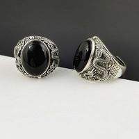 Natural Oval Black Onyx Stone Solid Silver 925 China Dragon Thick Band Rings Men 100% Pure Sterling Silver 925 Thai Silver Rings