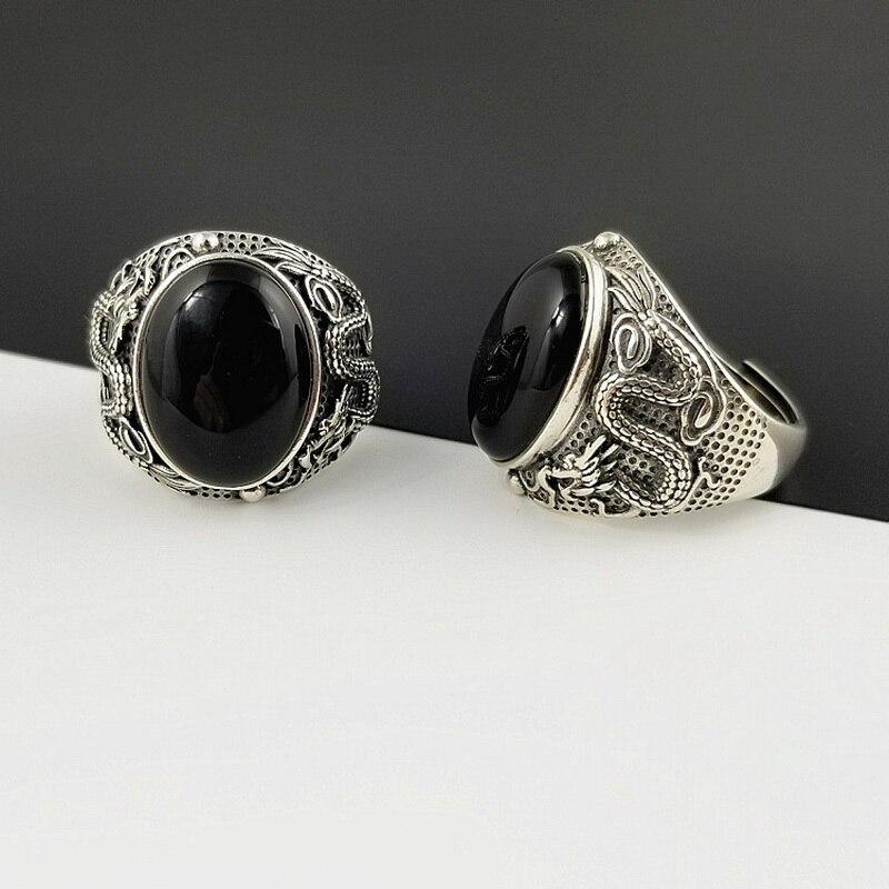Naturel ovale noir Onyx pierre argent massif 925 chine Dragon bande épaisse anneaux hommes 100% pur argent Sterling 925 Thai argent anneaux