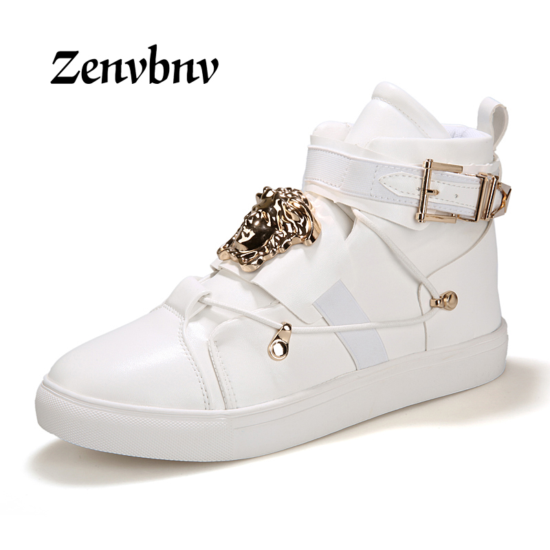 ZENVBNV Brand New Spring Men Boots Arrival Shoes Basic High-TOP Ankle PU Leather Trainers Boots Casual Hook$Loop Flats Shoes new arrival patent pu leather men fashion shoes spring autumn summer ankle boots shoes men high top men boots flats shoes