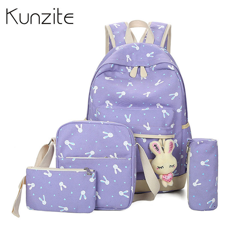 4pcs/sets Women Cartoon Backpacks Rabbit Printing School Backpack Canvas School Bags For Teenagers Girls Cute Book Bags Children