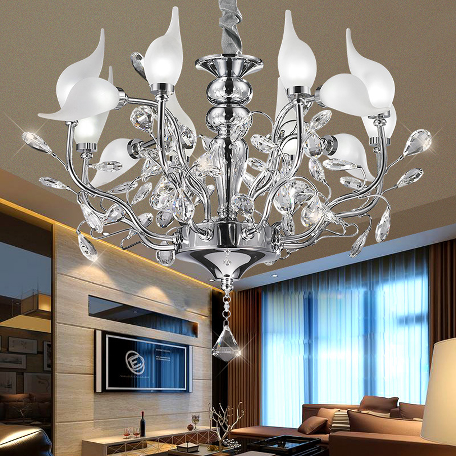 creative bedroom lighting. creative crystal 12 light source silver chandelier modern minimalist interior lighting living room lamp bedroom lights-in pendant lights from