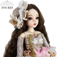 24 Full Set BJD Doll + Handmade Makeup 24 inch 60cm EVA BJD Lady Countes + Glass Eyes + Accessories Wigs Clothes Shoes