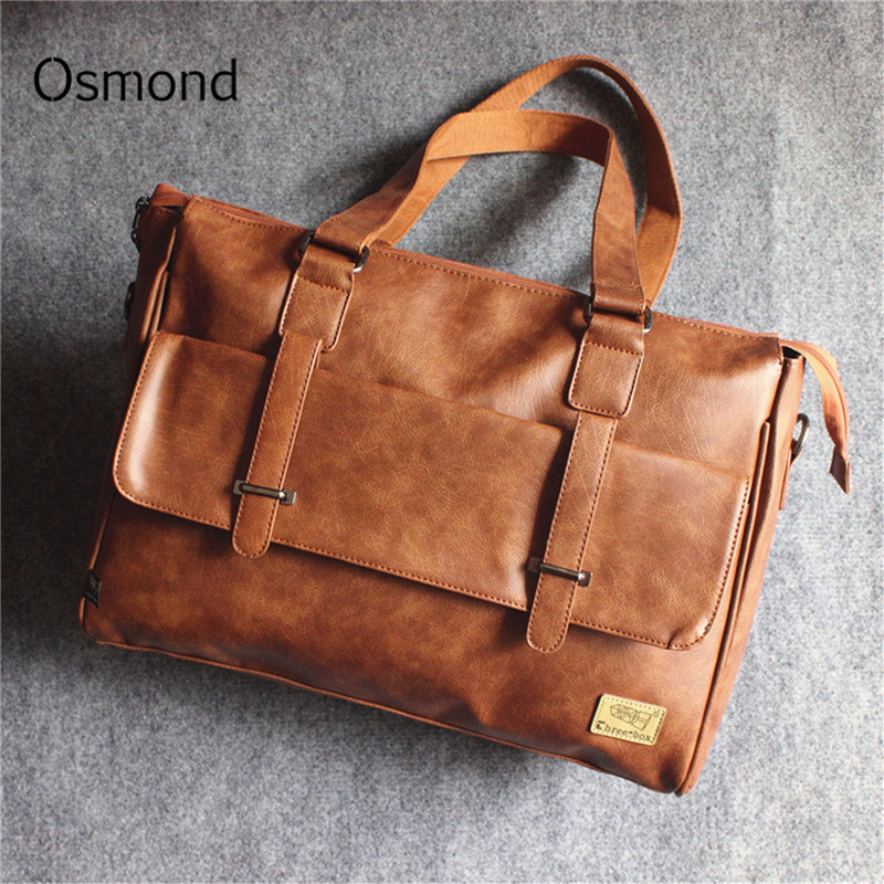 Osmond Men Business Briefcase Vintage Handbag PU Leather Shoulder Bags For 14 Inch Laptop Briefcase Large Travel Handbag Brown
