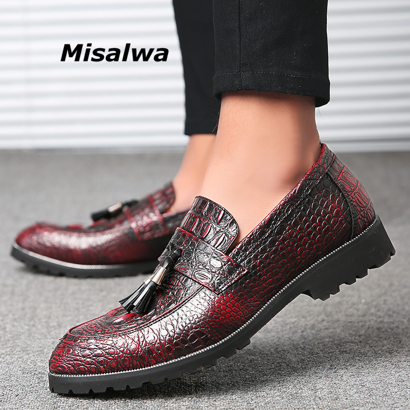 Misalwa Crocodile Pattern Texture Red Men Casual Leather Shoes Tassels Fashion Men Oxfords Luxury Barber Male Loafers Autumn New fashion tassels ornament leopard pattern flat shoes loafers shoes black leopard pair size 38