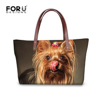 FORUDESIGNS Luxury Designer Top handle Messenger Bag for Women 3D Yorkshire Terrier Dog Ladies Crossbody Bag Travel Tote Handbag