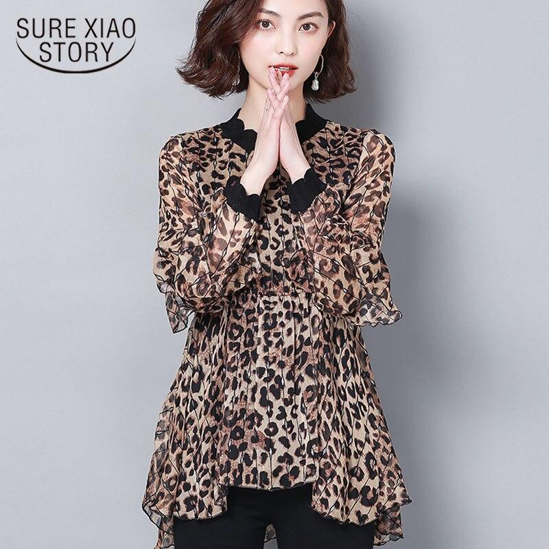 Spring 2019 printed chiffon women   blouses     shirts   loose female long sleeves plus size women tops leopard causal blusas 2211 50