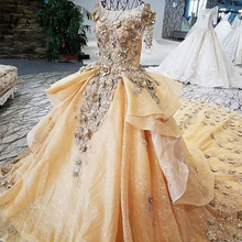 It's Yiiya Vintage Flower Sequined Train Wedding Dress