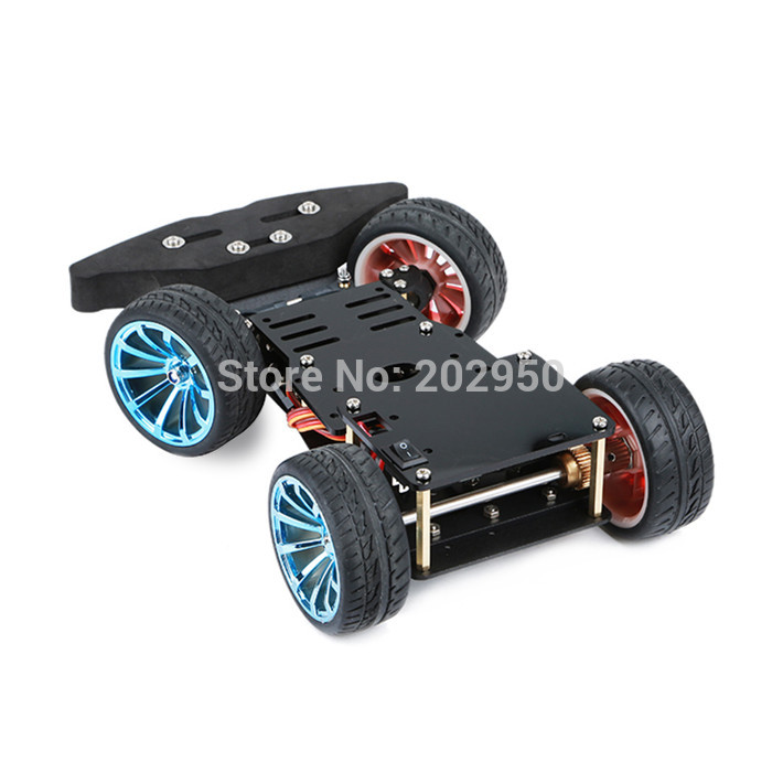 4WD RC Smart Car Chassis For Arduino Platform With MG996R Metal Gear Servo Bearing Kit Steering