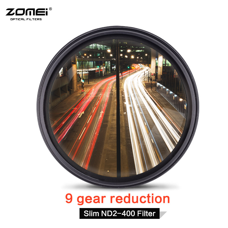 TRASPORTO LIBERO ZOMEI Slim Fader Variabile Densità Neutra ND Filter Regolabile ND2-400 Per Nikon D5100 D5200 D3300 D3200 D3100 Canon 1200D 100D