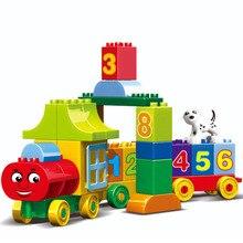 75 шт., большие частицы, цифры, поезд, строительные блоки, кирпичи, Развивающие детские, город, игрушки для детей, подарки