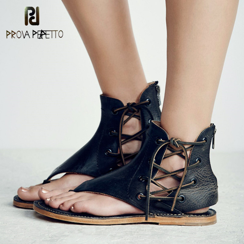 Prova Perfetto Gladiator Style Fashion Side Lace Up Flip-Flops Design Flat Shoes Retro Cow Genuine Leather Neutral Woman Sandals espadrilles retro gladiator sandals women genuine cow leather flip flops sandals lace up shoes black brown zapatos mujer