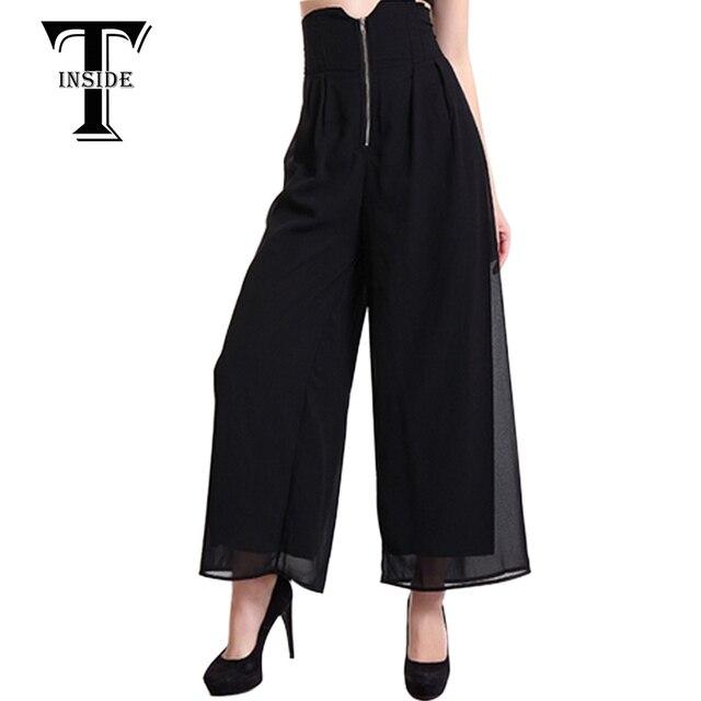 T-INSIDE 2016 Women's Black Red Blue Chiffon Harem Hip Hop Pants Capris Wide Leg Pants Loose Casual Ankle Length Trousers