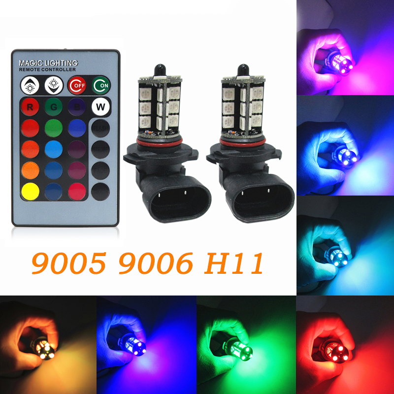 2pcs RGB LED Auto Car Headlight 9005 9006 H11 5050 LED 27 SMD RGB Fog Light Head Lamp Bulb With Remote Control Car Styling