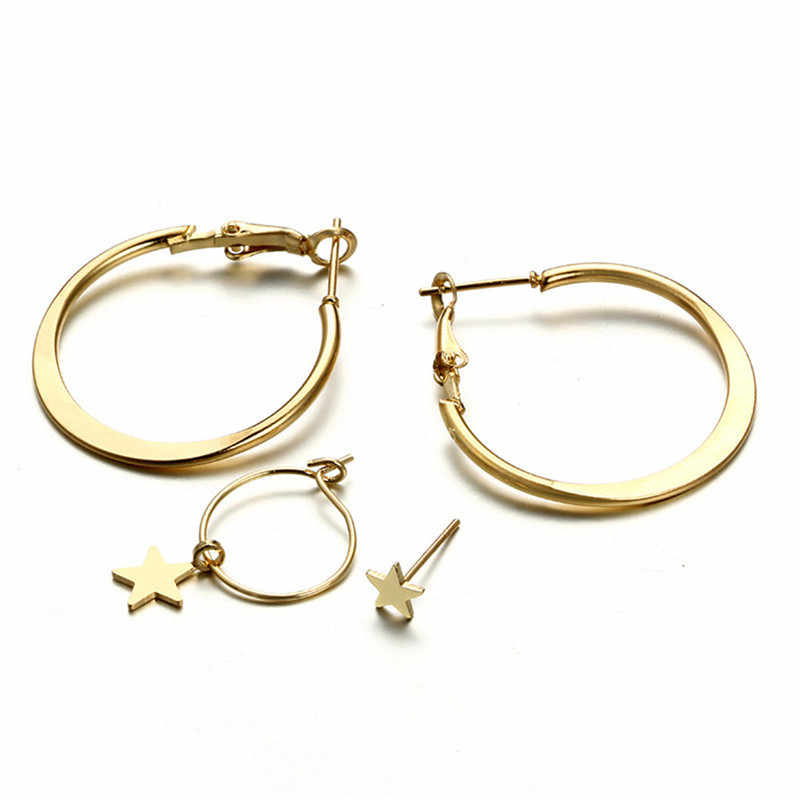 Retro Vintage Earrings 1 Set 4pcs High Quality Fashion Simple Circle Word Earring For Women Star Modern Jewelry 2018 Hot Sale