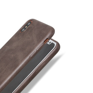 Image 2 - 50PCS PU Back Leather Case For iPhone X 6 6s 7 8 Plus Retro Case Cover For iPhone 8 Simple Phone Shells