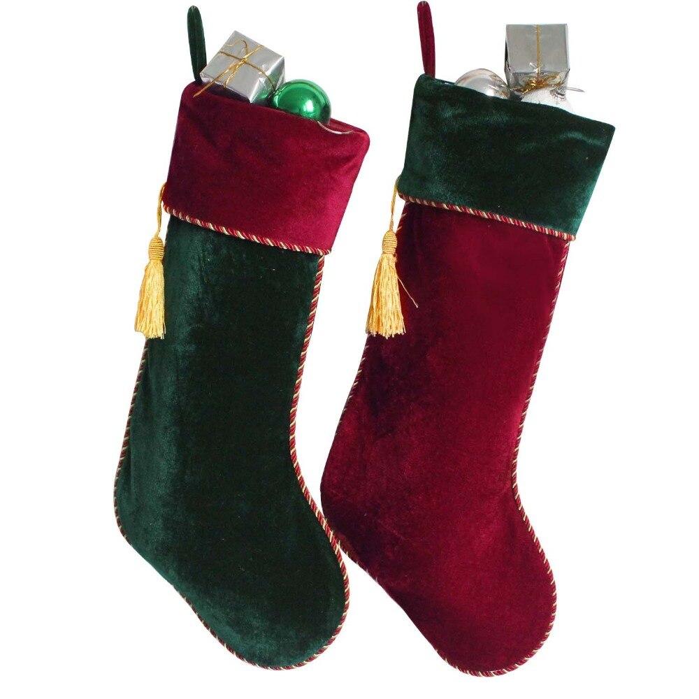 new arrvial set of 2 pcs red green velvet stocking with tassel decoration socks christmas stocking p4634 in stockings gift holders from home garden on - Red Velvet Christmas Stockings
