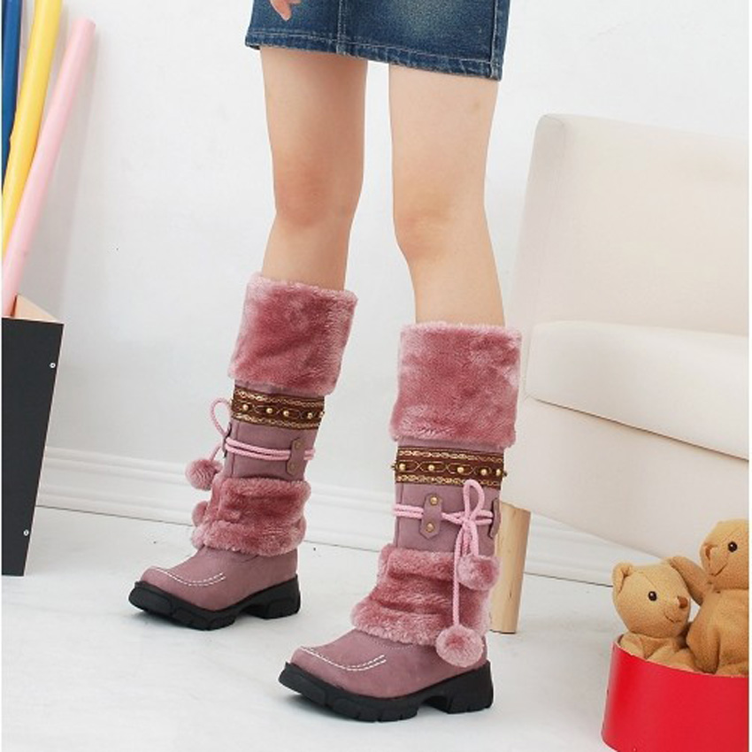 Women Long Boots Platform Thick Fur Warm fashion winter snow warm long boots decorate  faux fur ladies