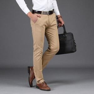 Image 2 - Nouveautés hommes daffaires pantalons décontractés mode pantalon droit coton élastique basique classique mâle mode pantalon grande taille 28 42