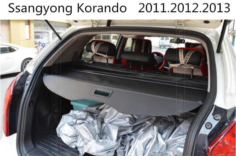 Car Rear Trunk Security Shield Cargo Cover For Ssangyong Korando 2011.2012.2013 High Qualit Black / Beige Auto Accessories car rear trunk security shield cargo cover for mitsubishi outlander 2013 2014 2015 high qualit black beige auto accessories