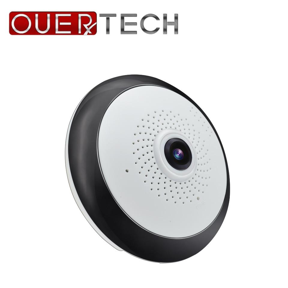 Ouertech visão completa wifi 360 graus de áudio em dois sentidos panorâmica 1.3mp fisheye câmera ip sem fio inteligente suporte 64g app icsee
