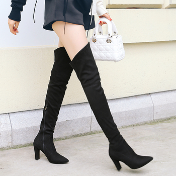 ZawsThia 2019 winter autumn stretch elastic thigh boots high heels shoes for woman over the knee high boots women overknee boots 2
