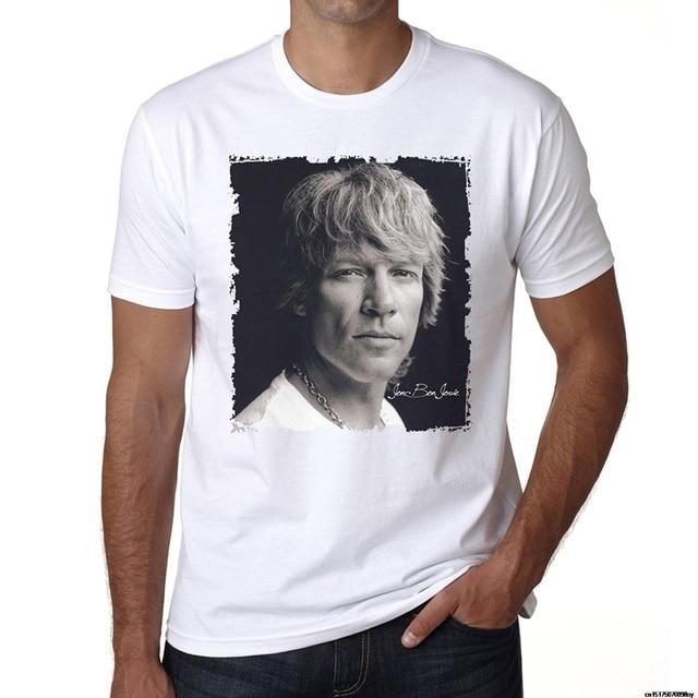 77cd9560 2018 Fashion Black T Shirt Short Sleeves 100% Cotton Jon Bon Jovi Men'S T  Shirt Celebrity Star One In The City