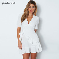 yinlinhe White Summer Dress Short Sleeve Bow Tie V neck Sexy Women Dress Ruffles Elegant Boho Mini Solid Vestidos 211