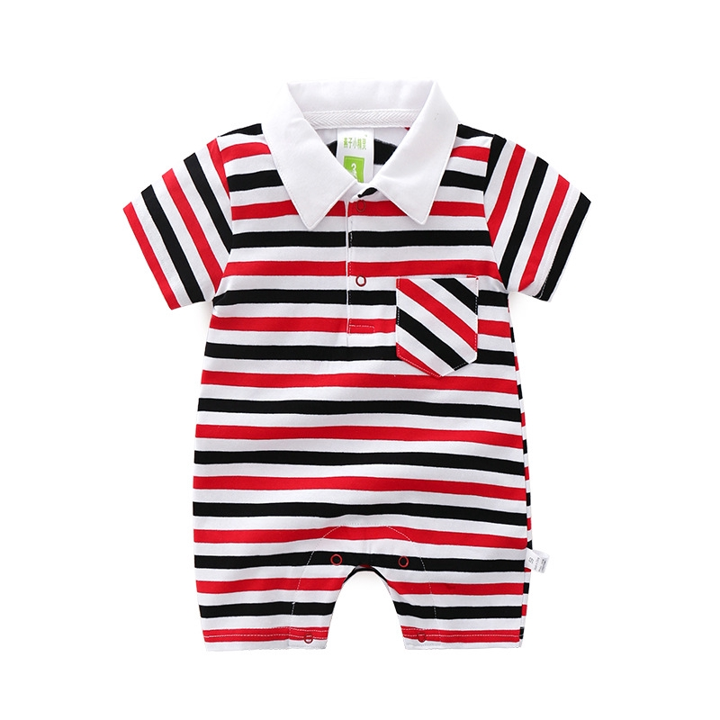 2019 New Baby Clothing Summer Striped Short Sleeved Jumpsuit Boy Combed Cotton Romper Infant Climbing Clothes Newborn Pajama Out