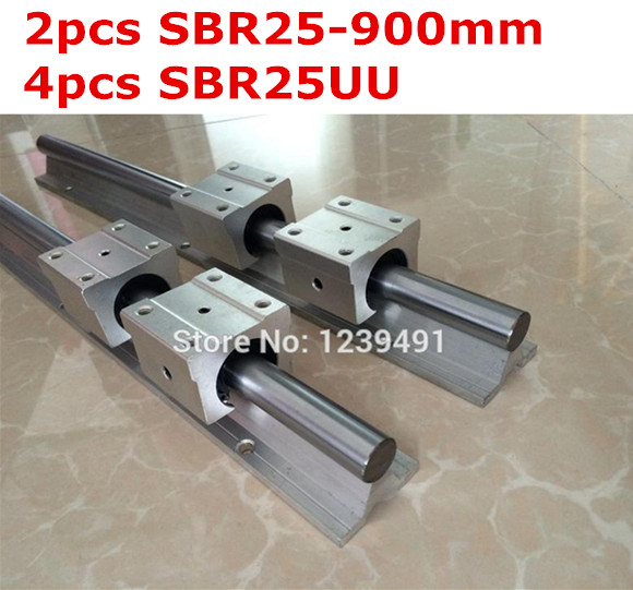 2pcs SBR25  -  900mm linear guide + 4pcs SBR25UU block 2pcs sbr25 l1500mm linear guides 4pcs sbr25uu linear blocks for cnc