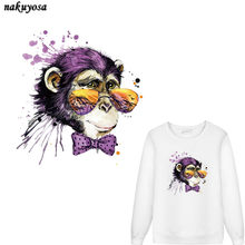 5pcs Cool Color ink sunglasses monkey Patch T-shirt Dresses Sweater DIY Accessory Decoration A-level Washable Appliqued(China)