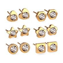 New Arrival 6Pairs Various Shapes Stainless Steel Earrings Set Cubic Zirconia Stud Earrings Nickel free Gold