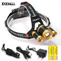 Powerful Led lighting 9000 lumens XML T6 4-mode Rechargeable for fishing Lights Zoom LED headlight + battery / AC charger+USB