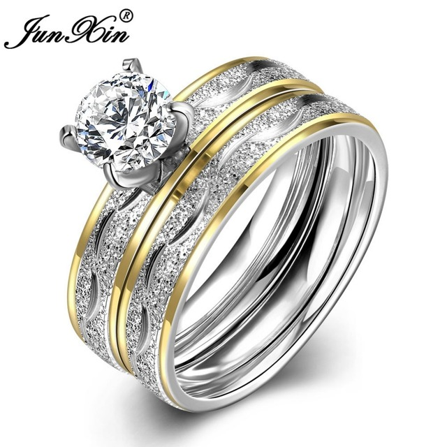 JUNXIN Fashion Silver Gold Colors Male Female Stainless Steel Ring