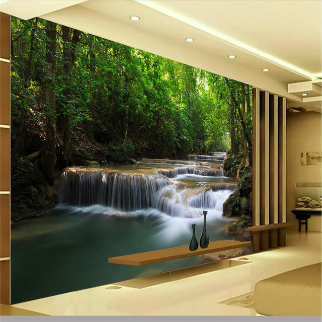 Pine Brook Boulder Mountain Residence Living Room: Modern Painting Forest Creek Green Landscape Wall Paper
