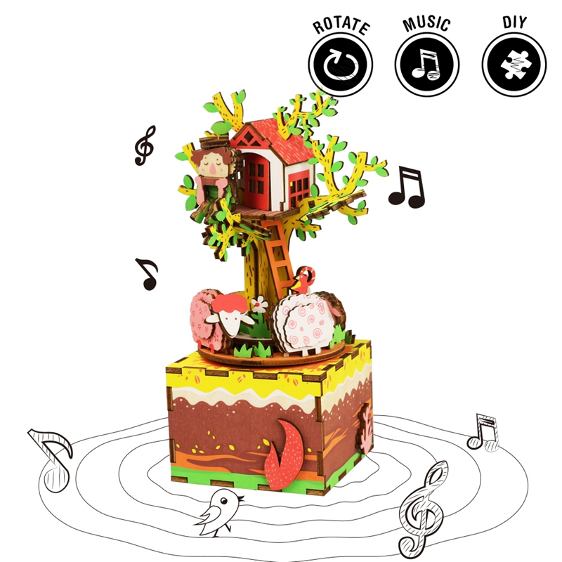 Robotime DIY Rotatable Tree House Wooden Music Box Hand Clockwork Type Home Decor Beauty Gift for Friends Children AM408