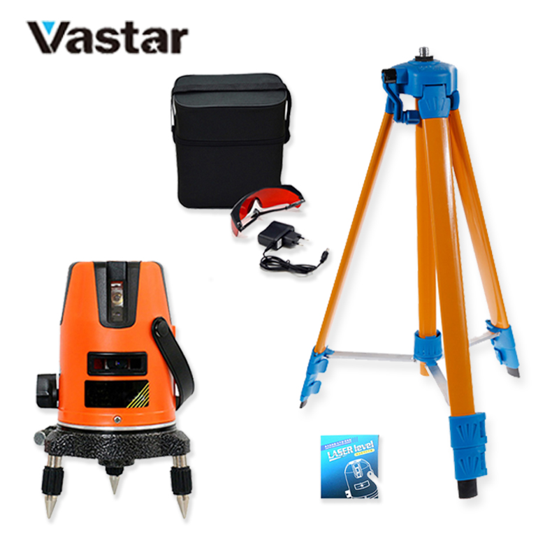 Vastar Laser Level 360 Degrees 5 Lines Rotary 635nm Outdoor Mode Receiver and Tilt Slash Available